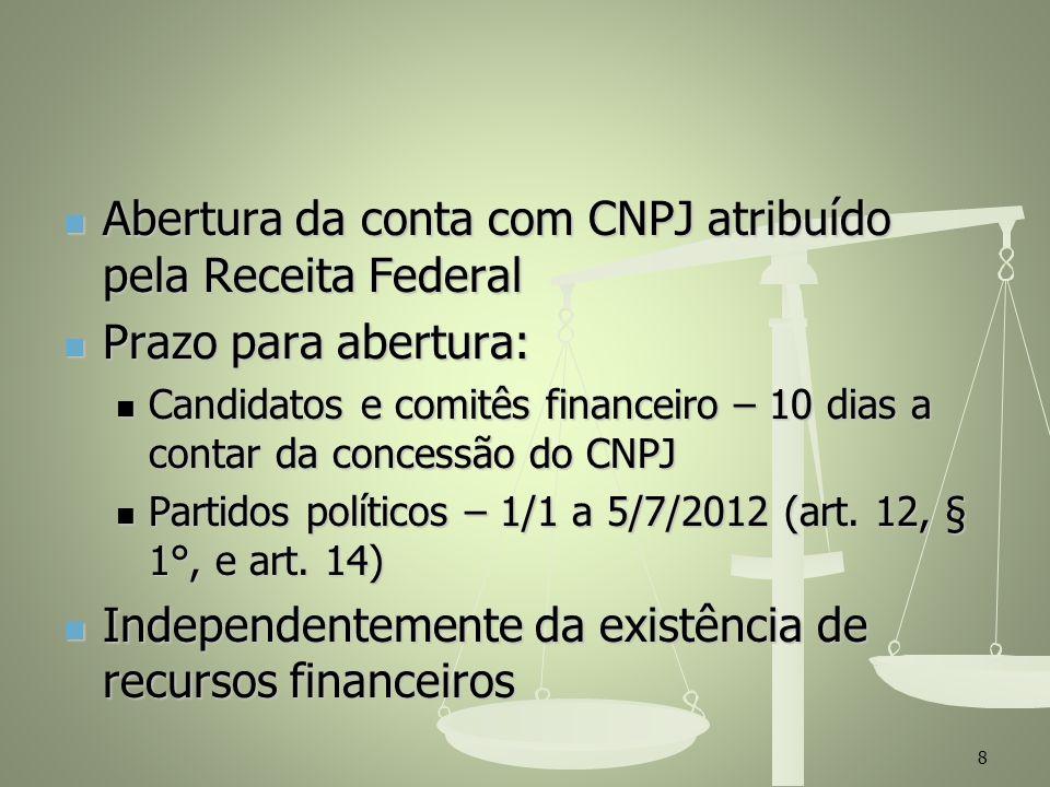 Abertura da conta com CNPJ atribuído pela Receita Federal Abertura da conta com CNPJ atribuído pela Receita Federal Prazo para abertura: Prazo para ab