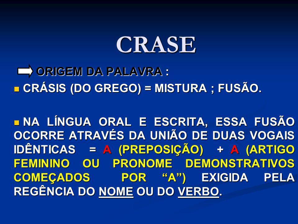 CRASE ORIGEM DA PALAVRA : ORIGEM DA PALAVRA : CRÁSIS (DO GREGO) = MISTURA ; FUSÃO. CRÁSIS (DO GREGO) = MISTURA ; FUSÃO. NA LÍNGUA ORAL E ESCRITA, ESSA