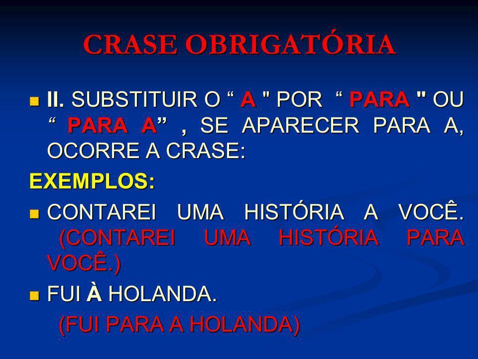 CRASE OBRIGATÓRIA III - SUBSTITUIR O VERBO IR PELO VERBO PELO VERBO VOLTAR .