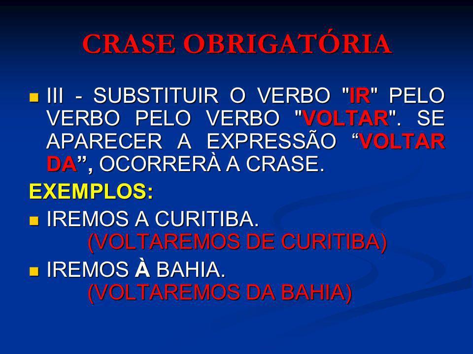 NÃO OCORRE A CRASE I.ANTES DE VERBO: I. ANTES DE VERBO: EX.:VOLTAMOS A CONTEMPLAR A LUA.