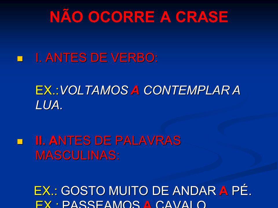 NÃO OCORRE A CRASE I. ANTES DE VERBO: I. ANTES DE VERBO: EX.:VOLTAMOS A CONTEMPLAR A LUA. II. ANTES DE PALAVRAS MASCULINAS: II. ANTES DE PALAVRAS MASC