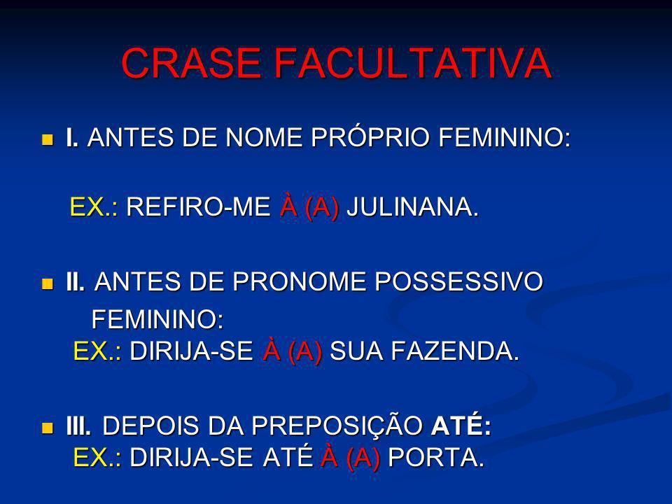 CRASE FACULTATIVA I. ANTES DE NOME PRÓPRIO FEMININO: I. ANTES DE NOME PRÓPRIO FEMININO: EX.: REFIRO-ME À (A) JULINANA. EX.: REFIRO-ME À (A) JULINANA.