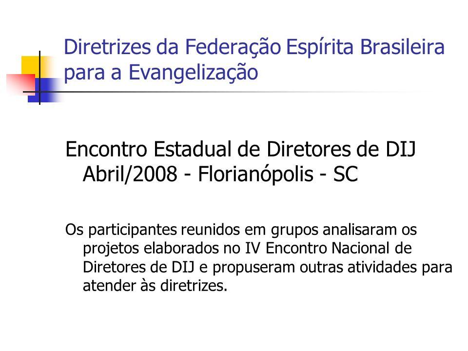 Diretrizes da Federação Espírita Brasileira para a Evangelização Encontro Estadual de Diretores de DIJ Abril/2008 - Florianópolis - SC Os participante