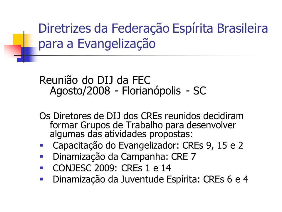 Diretrizes da Federação Espírita Brasileira para a Evangelização Reunião do DIJ da FEC Agosto/2008 - Florianópolis - SC Os Diretores de DIJ dos CREs r