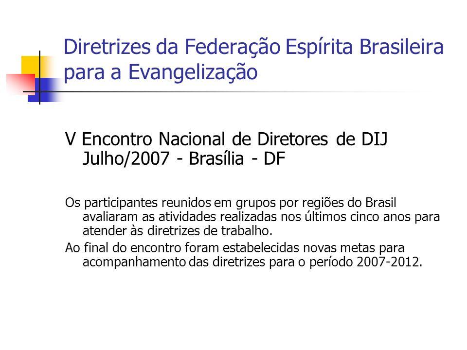 Diretrizes da Federação Espírita Brasileira para a Evangelização V Encontro Nacional de Diretores de DIJ Julho/2007 - Brasília - DF Os participantes r