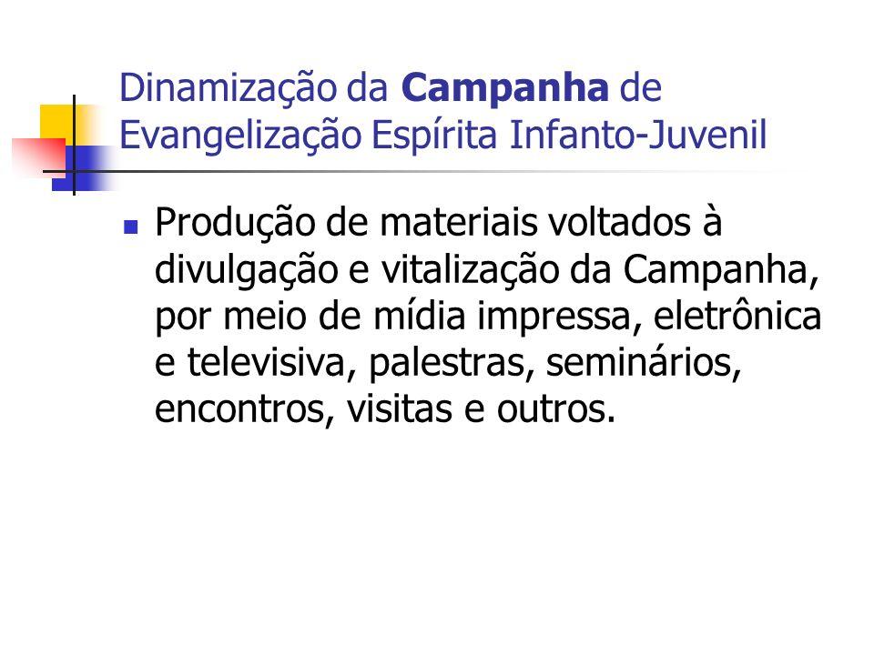 Dinamização da Campanha de Evangelização Espírita Infanto-Juvenil Produção de materiais voltados à divulgação e vitalização da Campanha, por meio de m