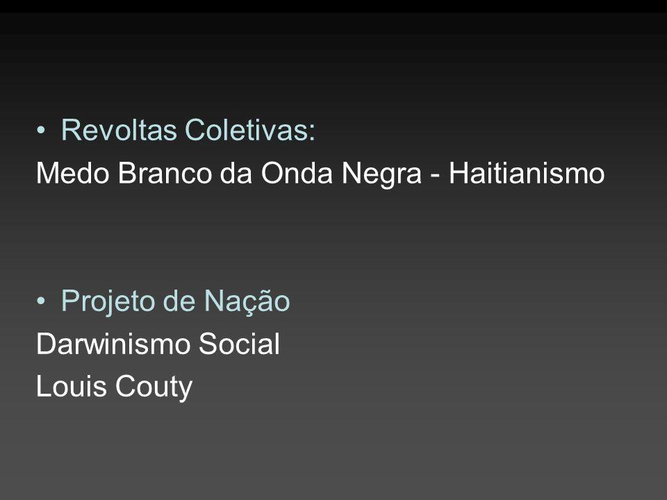 Revoltas Coletivas: Medo Branco da Onda Negra - Haitianismo Projeto de Nação Darwinismo Social Louis Couty