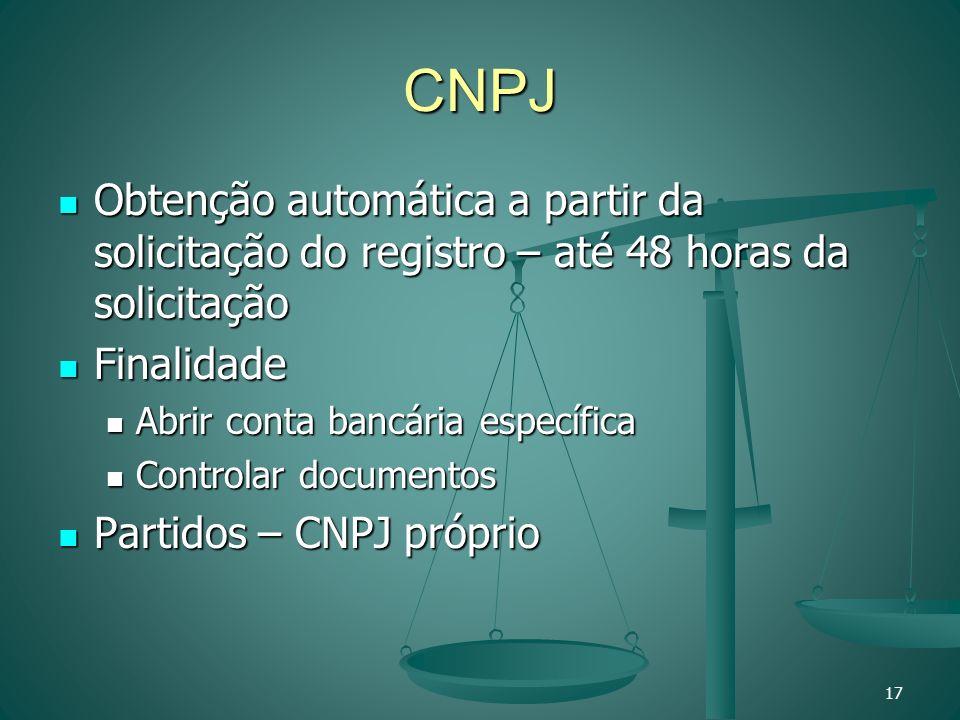CNPJ Obtenção automática a partir da solicitação do registro – até 48 horas da solicitação Obtenção automática a partir da solicitação do registro – a