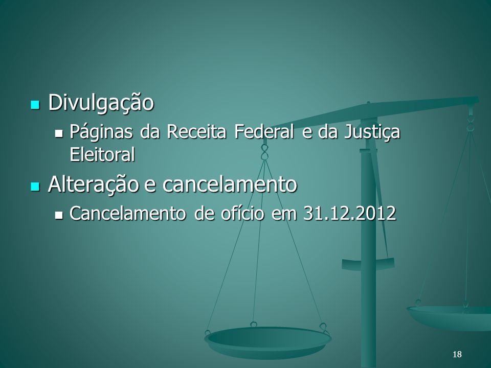 Divulgação Divulgação Páginas da Receita Federal e da Justiça Eleitoral Páginas da Receita Federal e da Justiça Eleitoral Alteração e cancelamento Alt