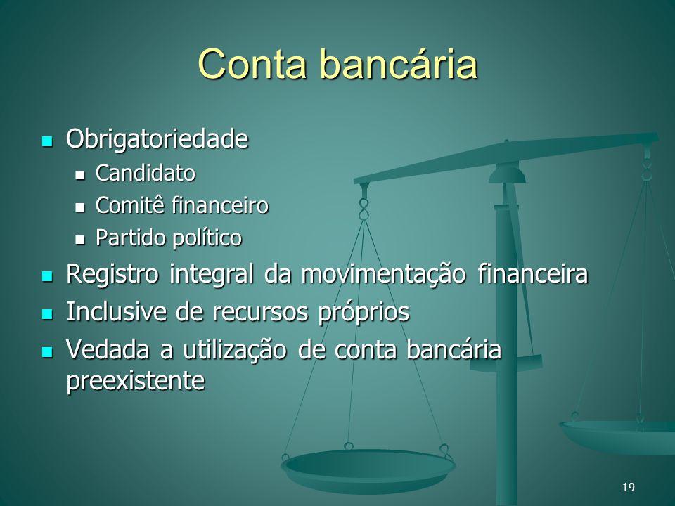 Conta bancária Obrigatoriedade Obrigatoriedade Candidato Candidato Comitê financeiro Comitê financeiro Partido político Partido político Registro inte