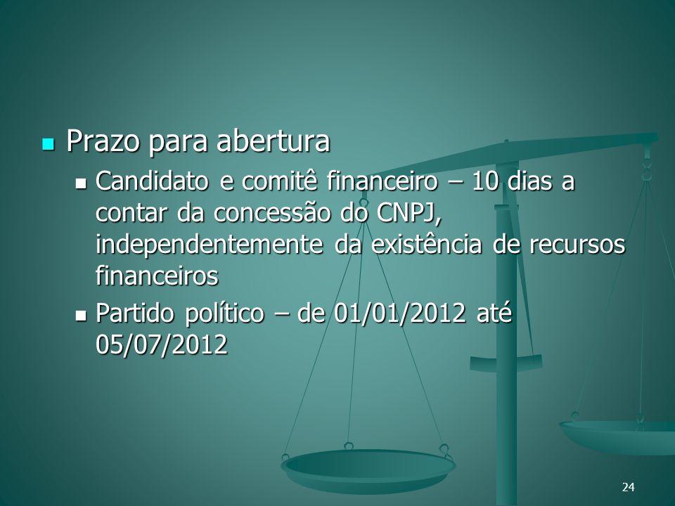 Prazo para abertura Prazo para abertura Candidato e comitê financeiro – 10 dias a contar da concessão do CNPJ, independentemente da existência de recu