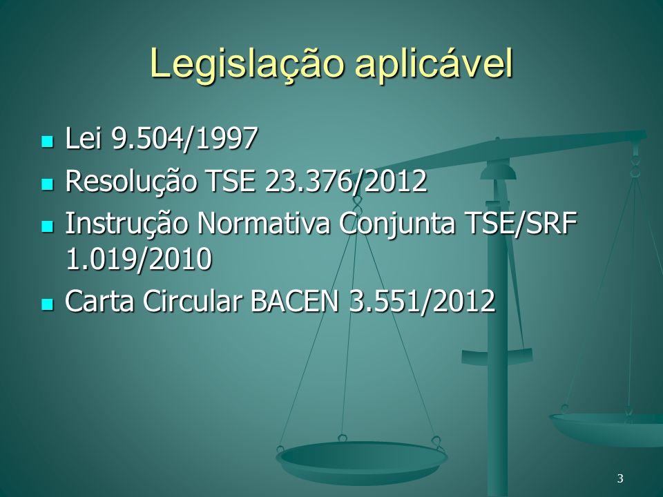 Legislação aplicável Lei 9.504/1997 Lei 9.504/1997 Resolução TSE 23.376/2012 Resolução TSE 23.376/2012 Instrução Normativa Conjunta TSE/SRF 1.019/2010