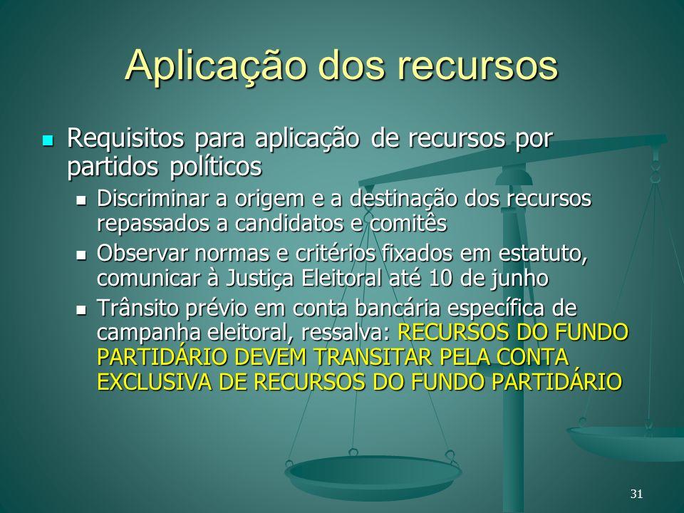 Aplicação dos recursos Requisitos para aplicação de recursos por partidos políticos Requisitos para aplicação de recursos por partidos políticos Discr