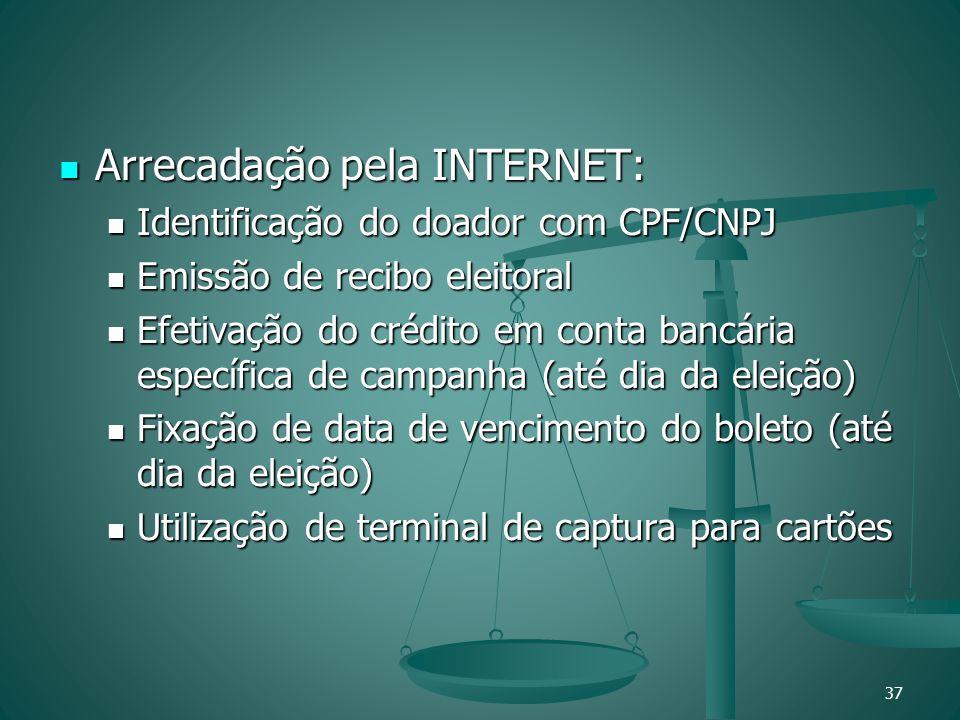 Arrecadação pela INTERNET: Arrecadação pela INTERNET: Identificação do doador com CPF/CNPJ Identificação do doador com CPF/CNPJ Emissão de recibo elei