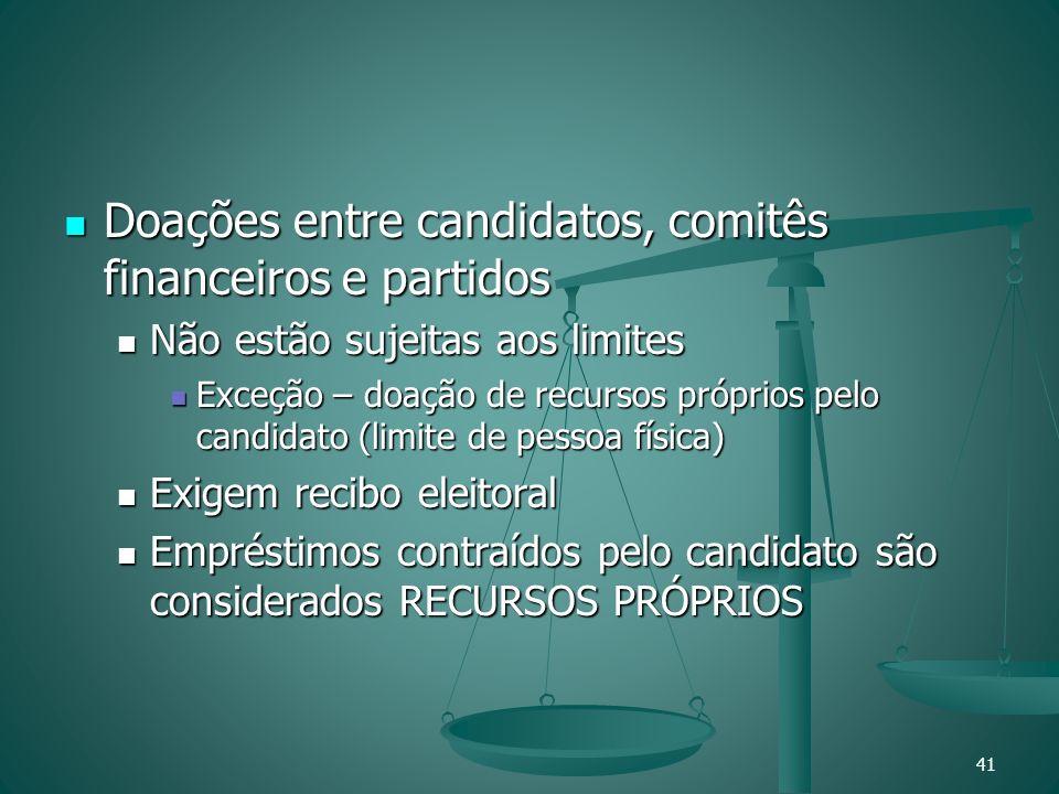 Doações entre candidatos, comitês financeiros e partidos Doações entre candidatos, comitês financeiros e partidos Não estão sujeitas aos limites Não e