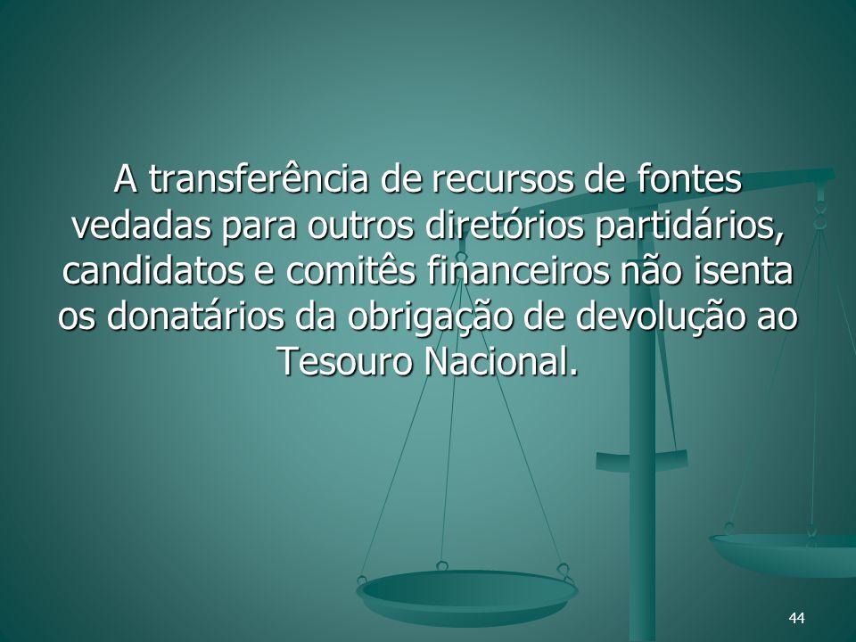 A transferência de recursos de fontes vedadas para outros diretórios partidários, candidatos e comitês financeiros não isenta os donatários da obrigaç