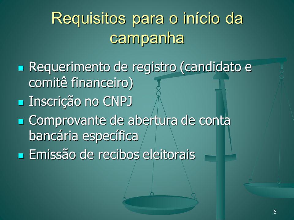 Requisitos para o início da campanha Requerimento de registro (candidato e comitê financeiro) Requerimento de registro (candidato e comitê financeiro)