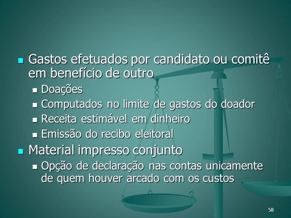 Gastos efetuados por candidato ou comitê em benefício de outro Gastos efetuados por candidato ou comitê em benefício de outro Doações Doações Computad
