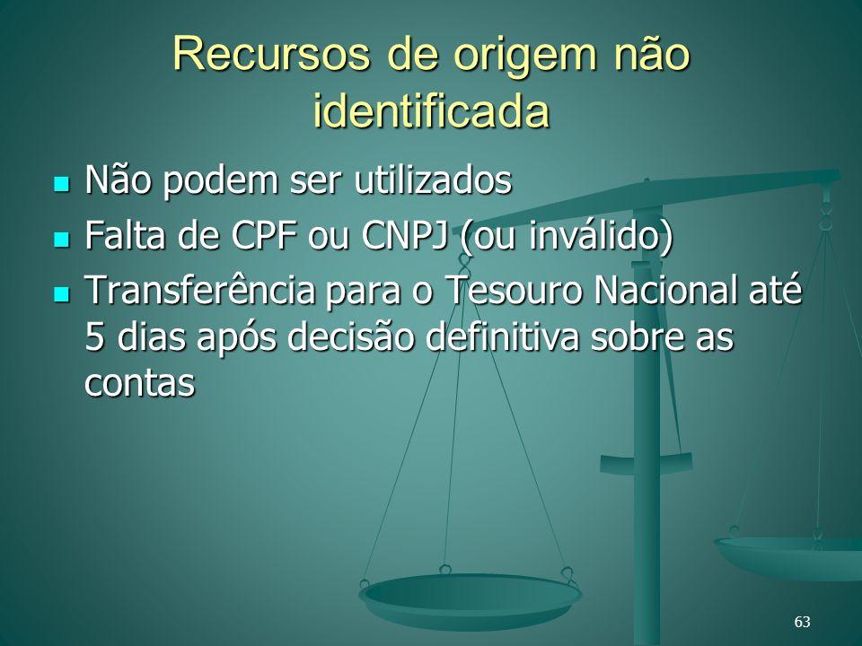 Recursos de origem não identificada Não podem ser utilizados Não podem ser utilizados Falta de CPF ou CNPJ (ou inválido) Falta de CPF ou CNPJ (ou invá