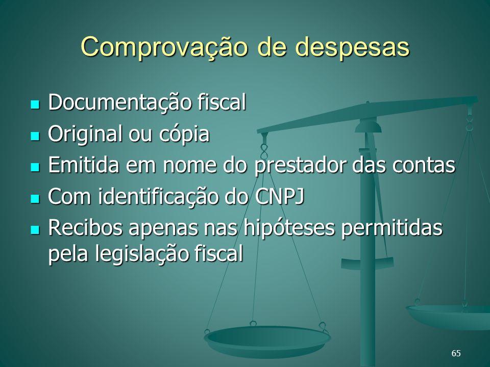 Comprovação de despesas Documentação fiscal Documentação fiscal Original ou cópia Original ou cópia Emitida em nome do prestador das contas Emitida em