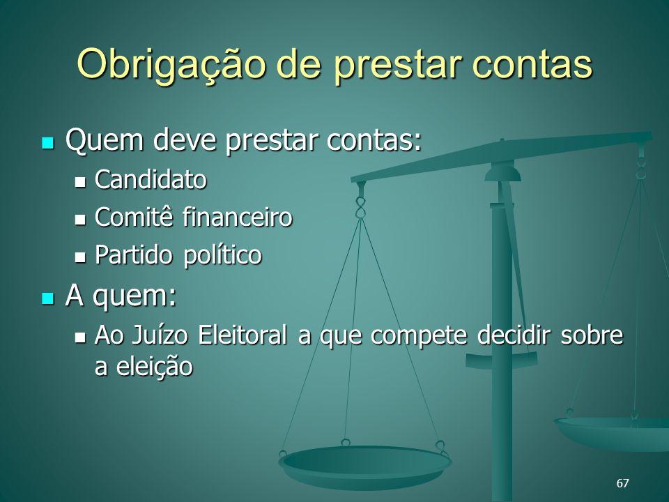 Obrigação de prestar contas Quem deve prestar contas: Quem deve prestar contas: Candidato Candidato Comitê financeiro Comitê financeiro Partido políti
