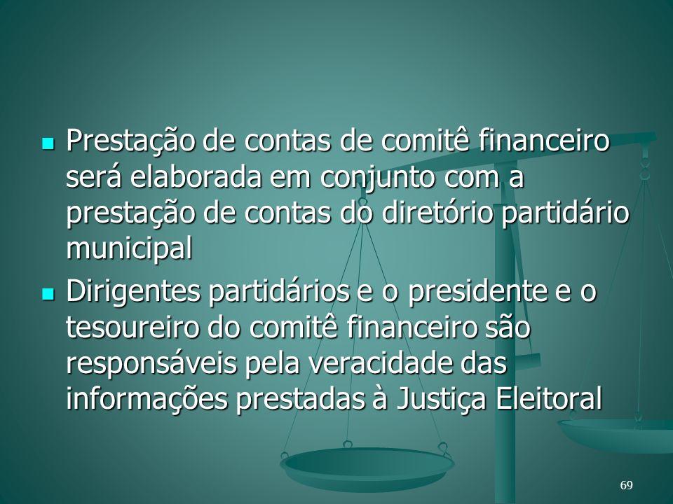 Prestação de contas de comitê financeiro será elaborada em conjunto com a prestação de contas do diretório partidário municipal Prestação de contas de