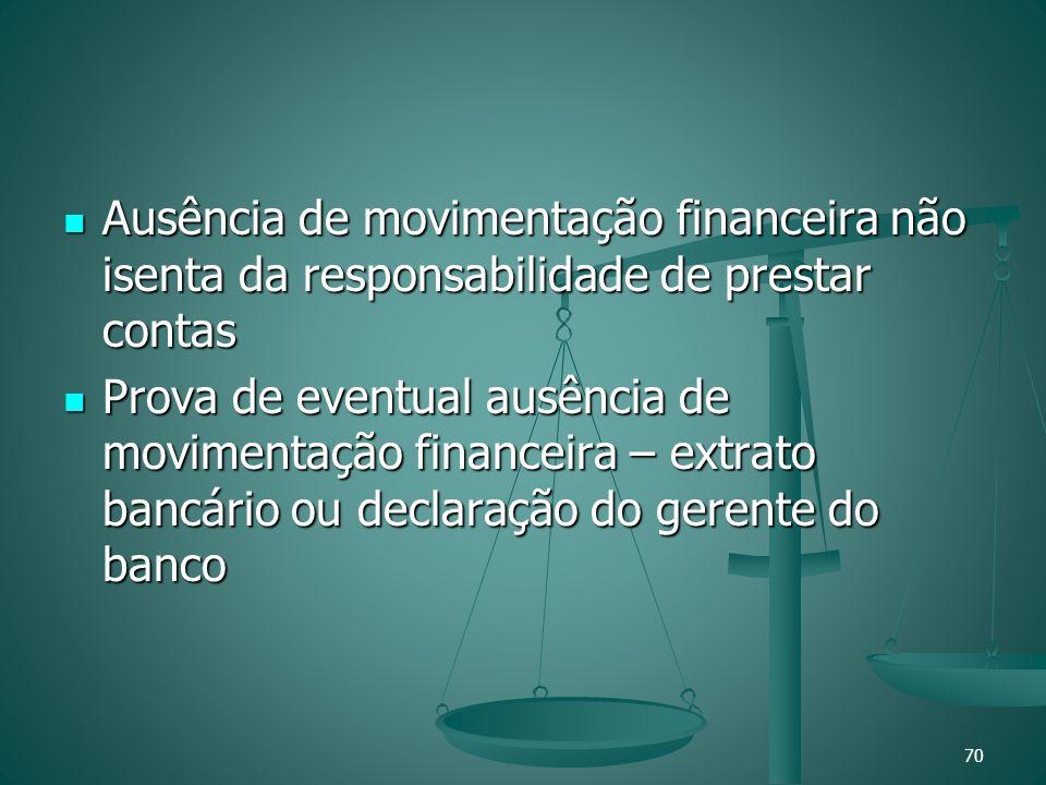 Ausência de movimentação financeira não isenta da responsabilidade de prestar contas Ausência de movimentação financeira não isenta da responsabilidad