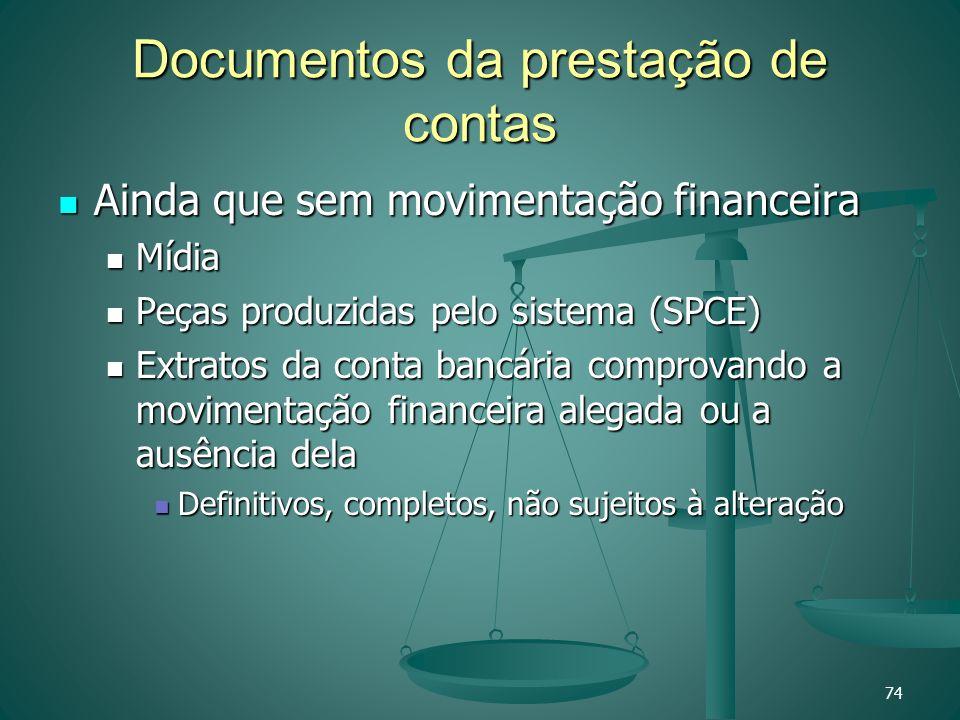 Documentos da prestação de contas Ainda que sem movimentação financeira Ainda que sem movimentação financeira Mídia Mídia Peças produzidas pelo sistem