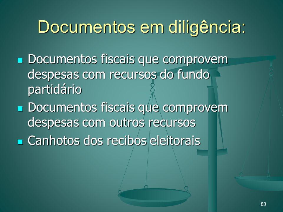 Documentos em diligência: Documentos fiscais que comprovem despesas com recursos do fundo partidário Documentos fiscais que comprovem despesas com rec