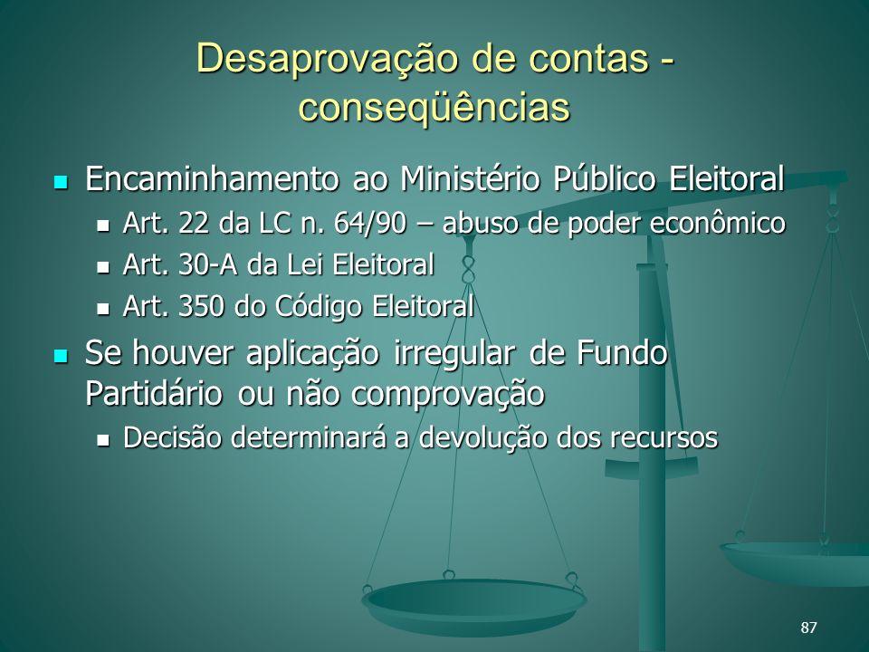 Desaprovação de contas - conseqüências Encaminhamento ao Ministério Público Eleitoral Encaminhamento ao Ministério Público Eleitoral Art. 22 da LC n.