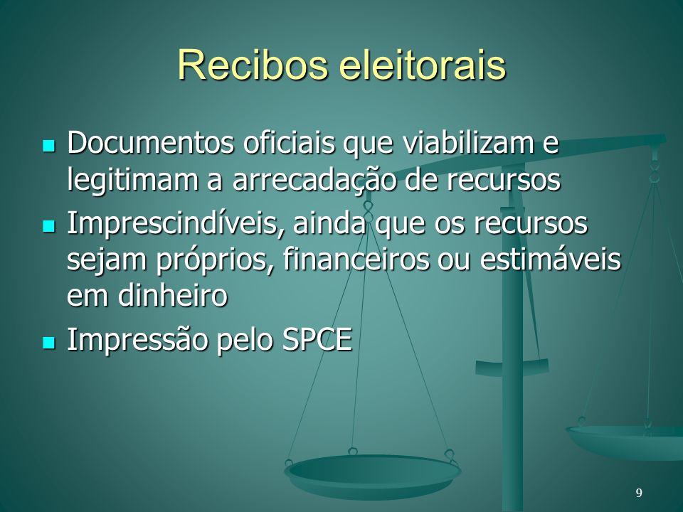 Recibos eleitorais Documentos oficiais que viabilizam e legitimam a arrecadação de recursos Documentos oficiais que viabilizam e legitimam a arrecadaç