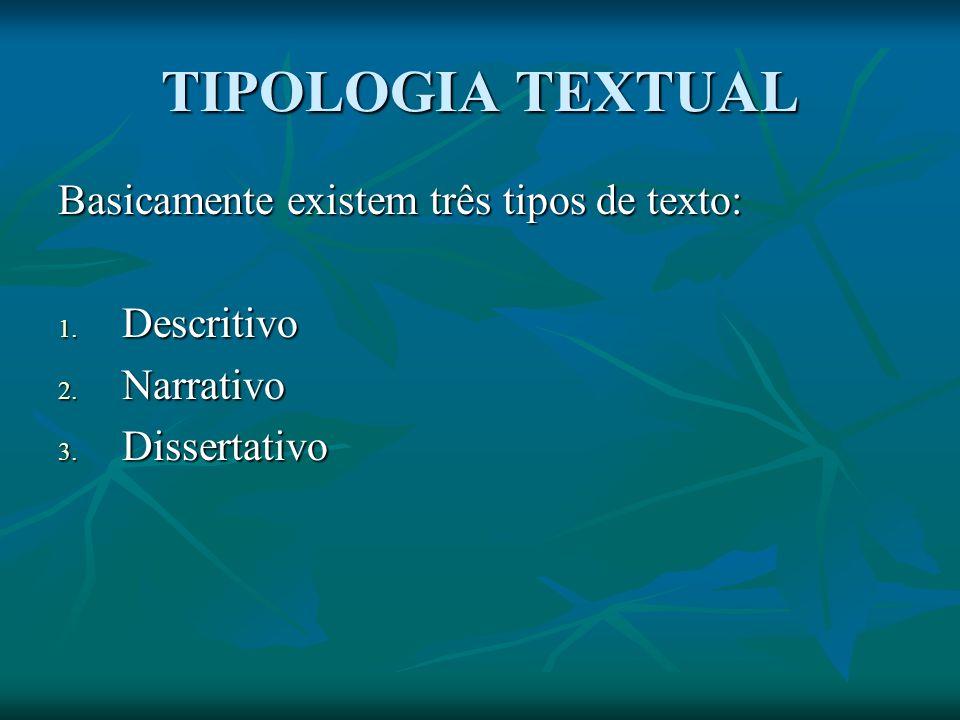 TIPOLOGIA TEXTUAL Basicamente existem três tipos de texto: 1. Descritivo 2. Narrativo 3. Dissertativo
