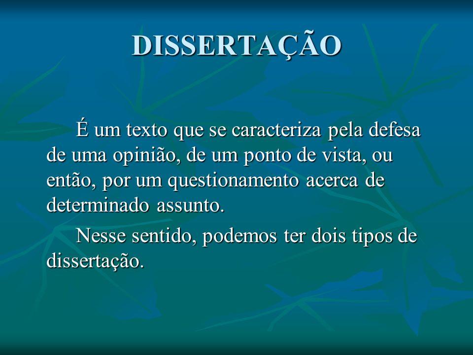 DISSERTAÇÃO É um texto que se caracteriza pela defesa de uma opinião, de um ponto de vista, ou então, por um questionamento acerca de determinado assu