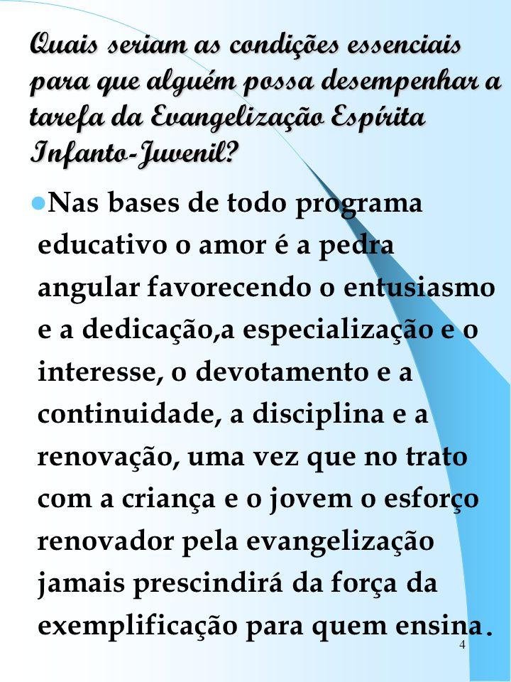 4 Quais seriam as condições essenciais para que alguém possa desempenhar a tarefa da Evangelização Espírita Infanto-Juvenil? Nas bases de todo program