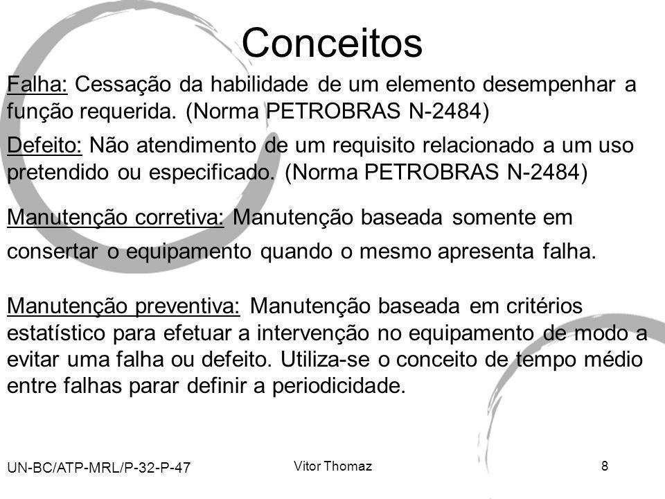 Vitor Thomaz8 Conceitos Manutenção corretiva: Manutenção baseada somente em consertar o equipamento quando o mesmo apresenta falha. UN-BC/ATP-MRL/P-32