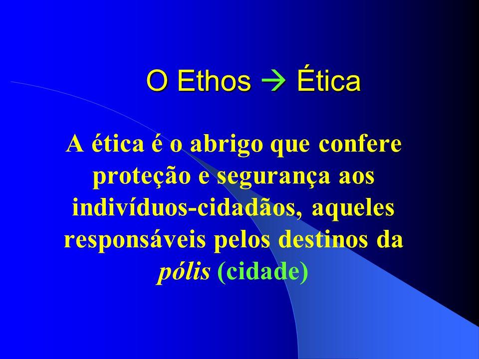 O Ethos Ética A ética é o abrigo que confere proteção e segurança aos indivíduos-cidadãos, aqueles responsáveis pelos destinos da pólis (cidade)