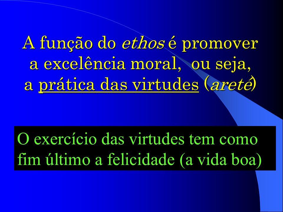 A função do ethos é promover a excelência moral, ou seja, a prática das virtudes (areté) O exercício das virtudes tem como fim último a felicidade (a vida boa)