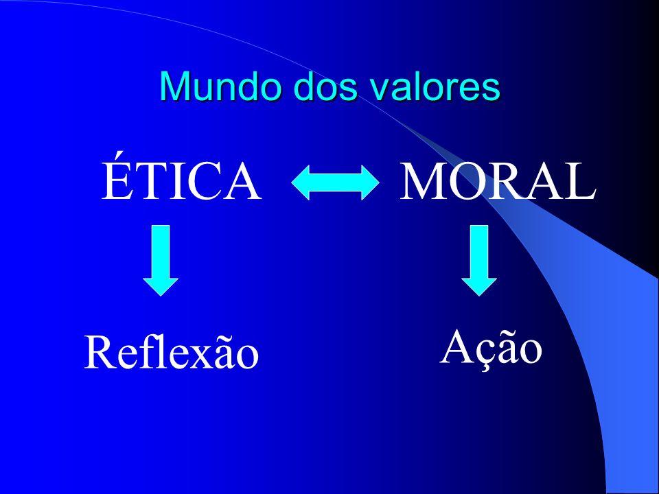 Mundo dos valores ÉTICA MORAL Reflexão Ação