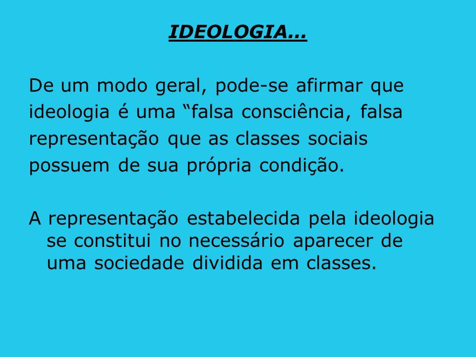IDEOLOGIA... De um modo geral, pode-se afirmar que ideologia é uma falsa consciência, falsa representação que as classes sociais possuem de sua própri
