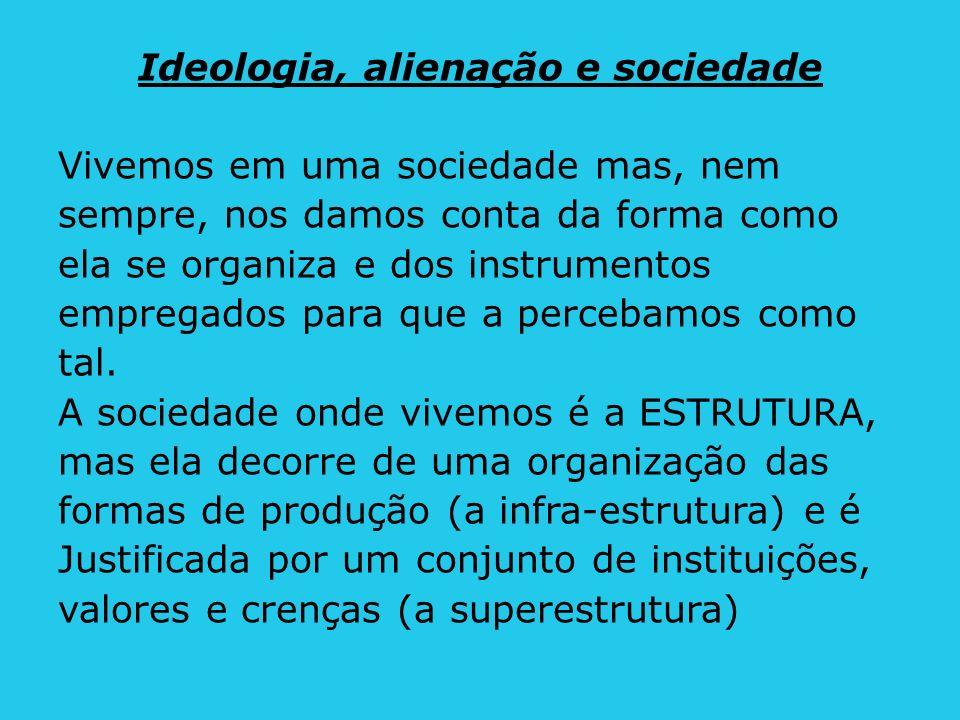 Ideologia, alienação e sociedade Vivemos em uma sociedade mas, nem sempre, nos damos conta da forma como ela se organiza e dos instrumentos empregados