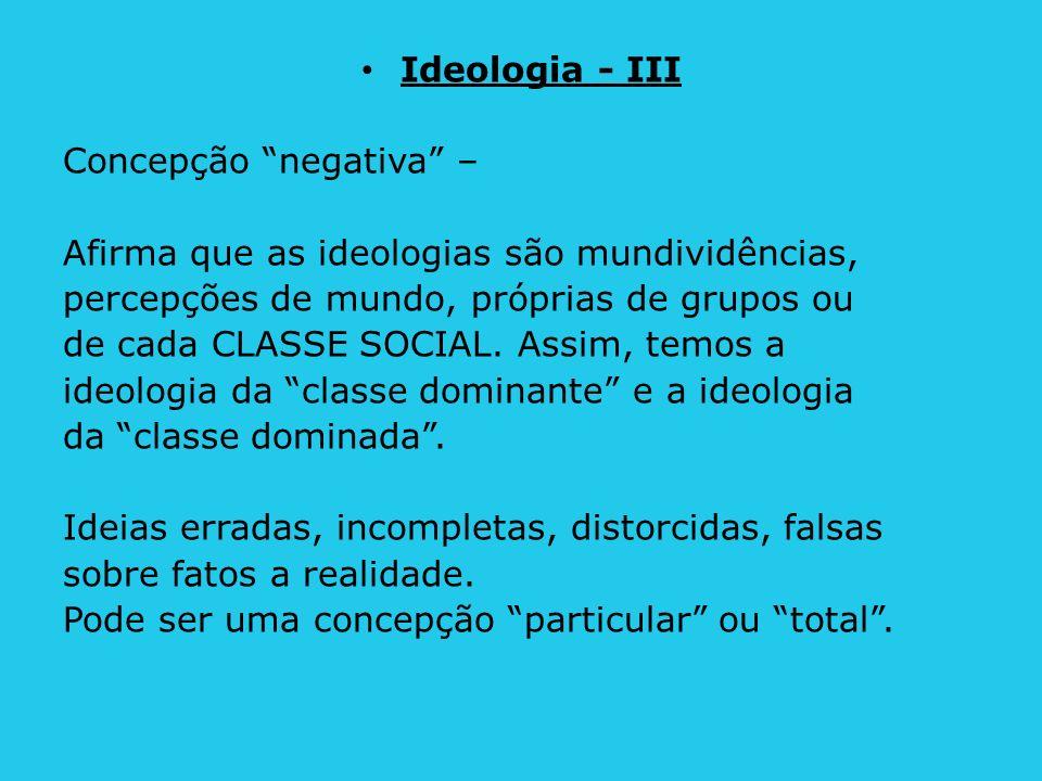 Ideologia - III Concepção negativa – Afirma que as ideologias são mundividências, percepções de mundo, próprias de grupos ou de cada CLASSE SOCIAL. As