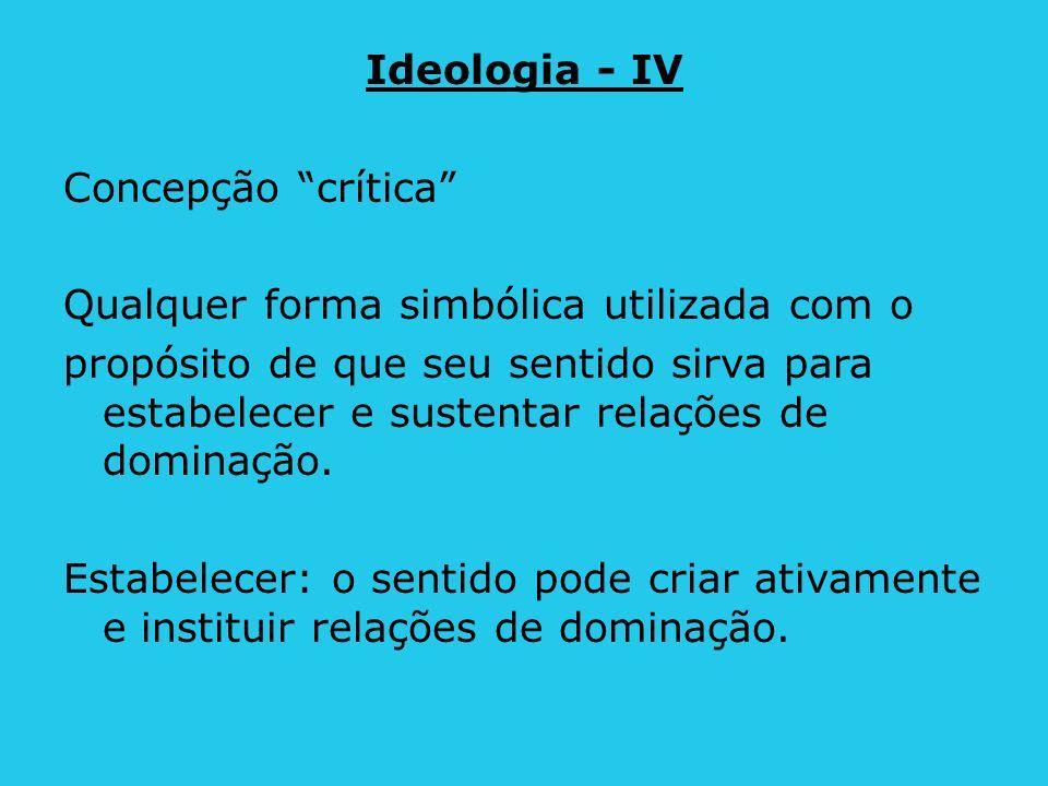 Ideologia - IV Concepção crítica Qualquer forma simbólica utilizada com o propósito de que seu sentido sirva para estabelecer e sustentar relações de