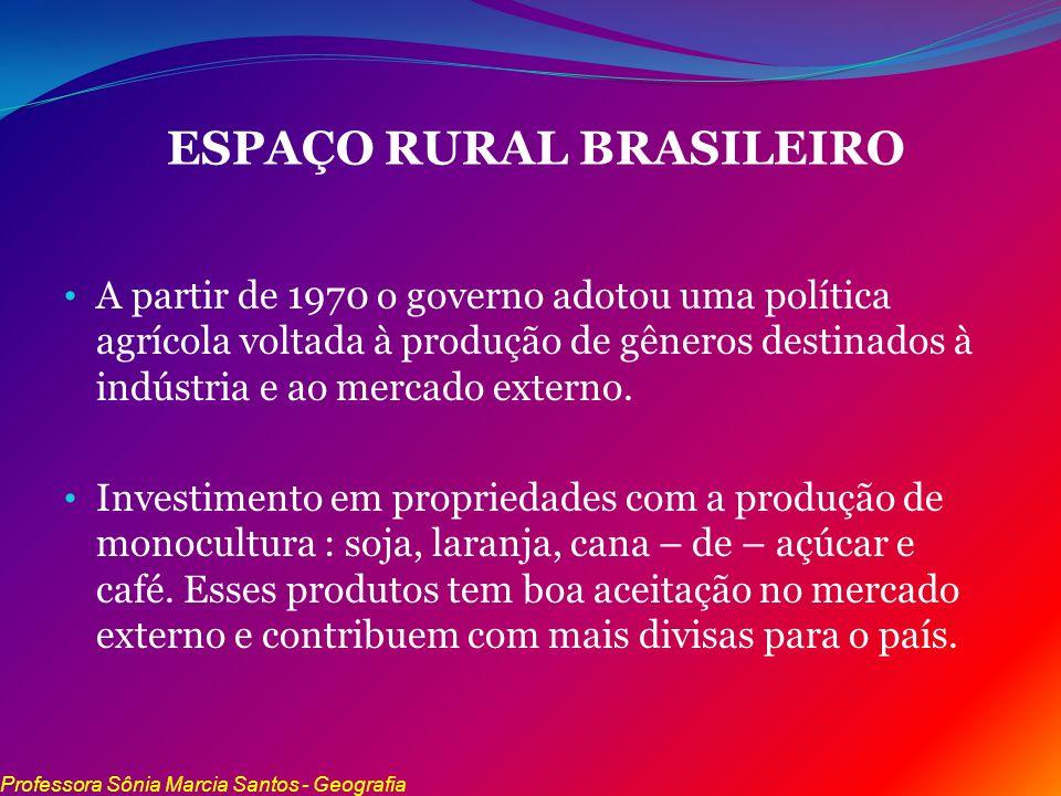 ESPAÇO RURAL BRASILEIRO A partir de 1970 o governo adotou uma política agrícola voltada à produção de gêneros destinados à indústria e ao mercado exte