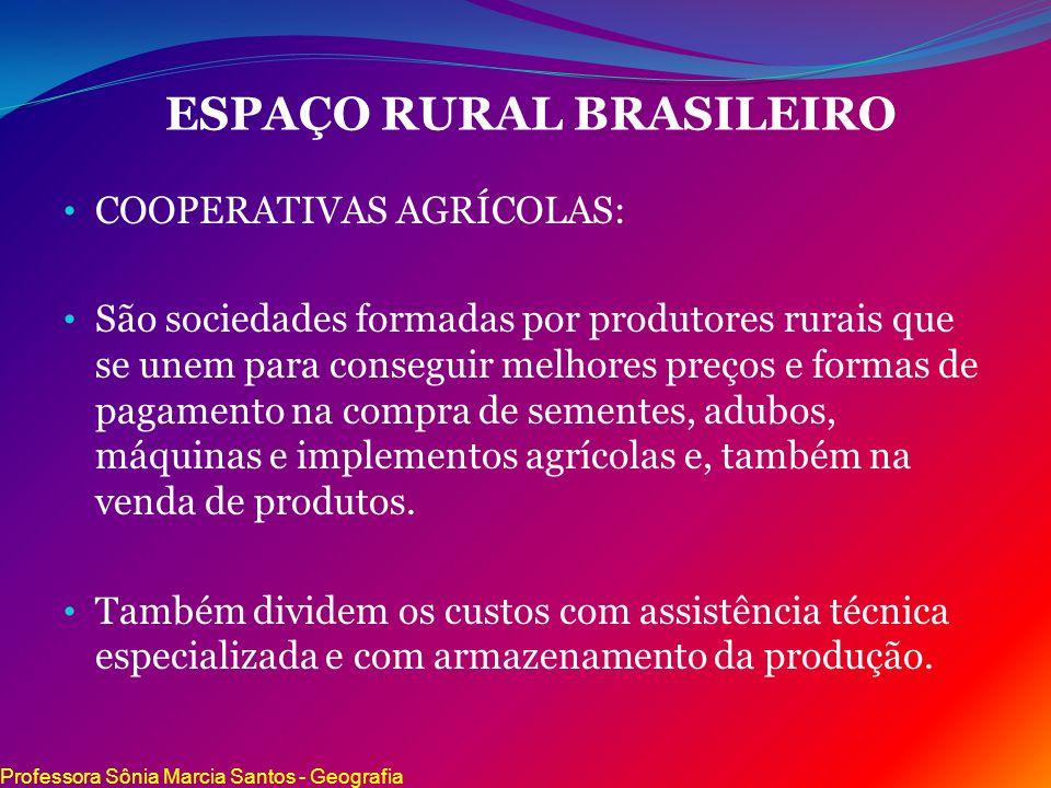 ESPAÇO RURAL BRASILEIRO COOPERATIVAS AGRÍCOLAS: São sociedades formadas por produtores rurais que se unem para conseguir melhores preços e formas de p