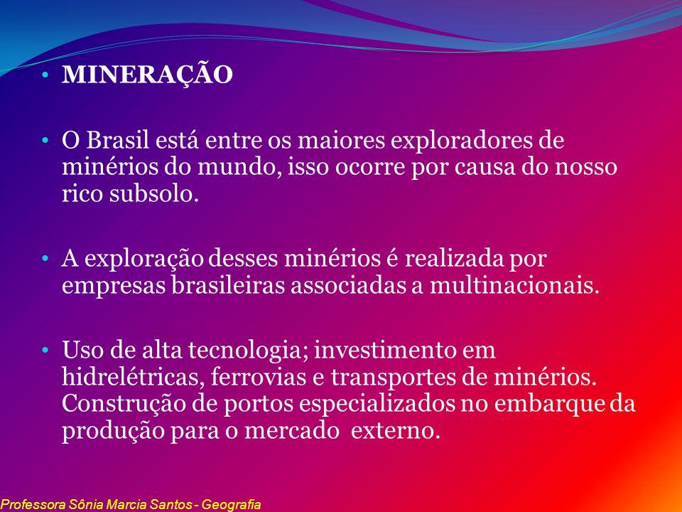 MINERAÇÃO O Brasil está entre os maiores exploradores de minérios do mundo, isso ocorre por causa do nosso rico subsolo. A exploração desses minérios