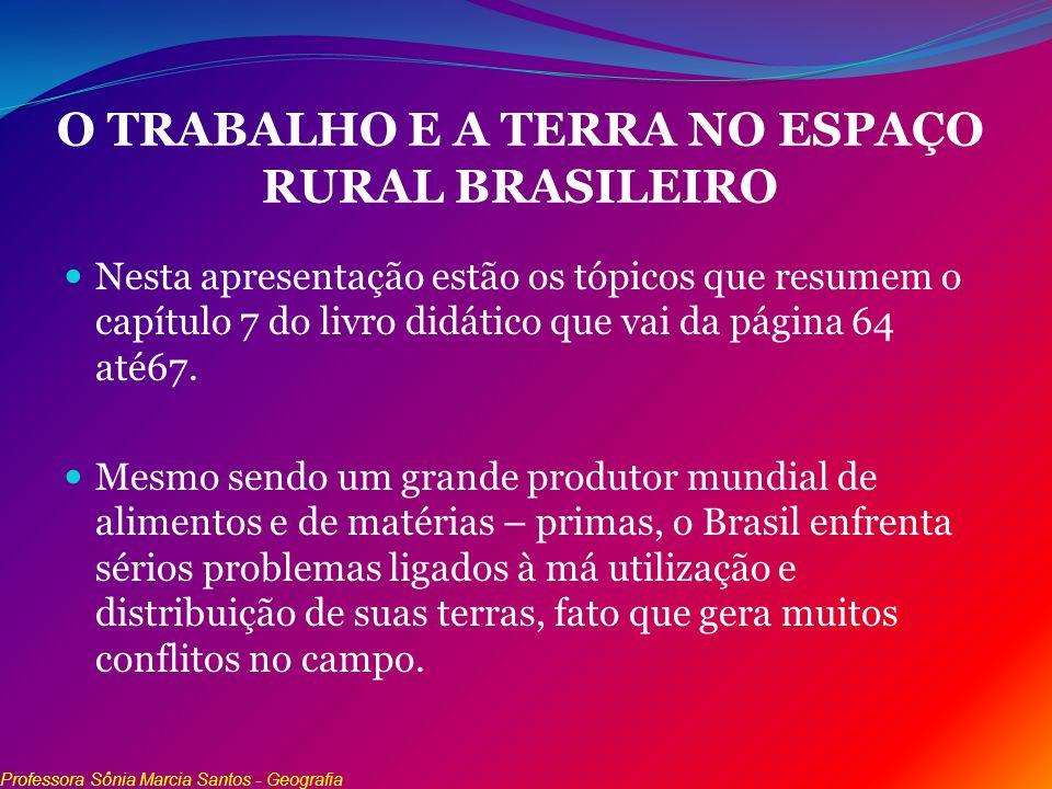 O TRABALHO E A TERRA NO ESPAÇO RURAL BRASILEIRO Nesta apresentação estão os tópicos que resumem o capítulo 7 do livro didático que vai da página 64 at