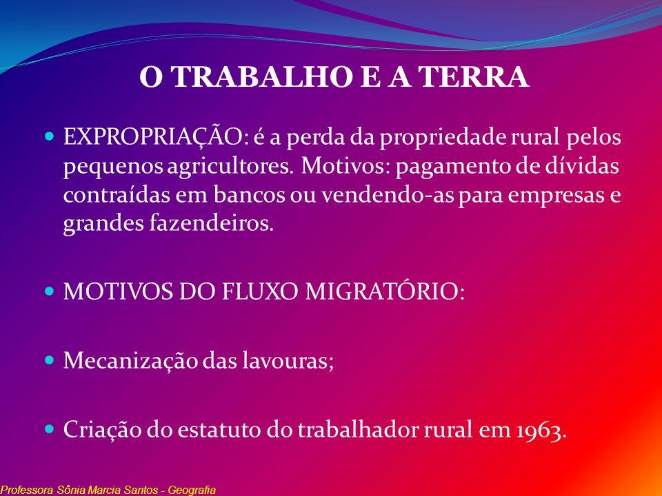 O TRABALHO E A TERRA EXPROPRIAÇÃO: é a perda da propriedade rural pelos pequenos agricultores. Motivos: pagamento de dívidas contraídas em bancos ou v