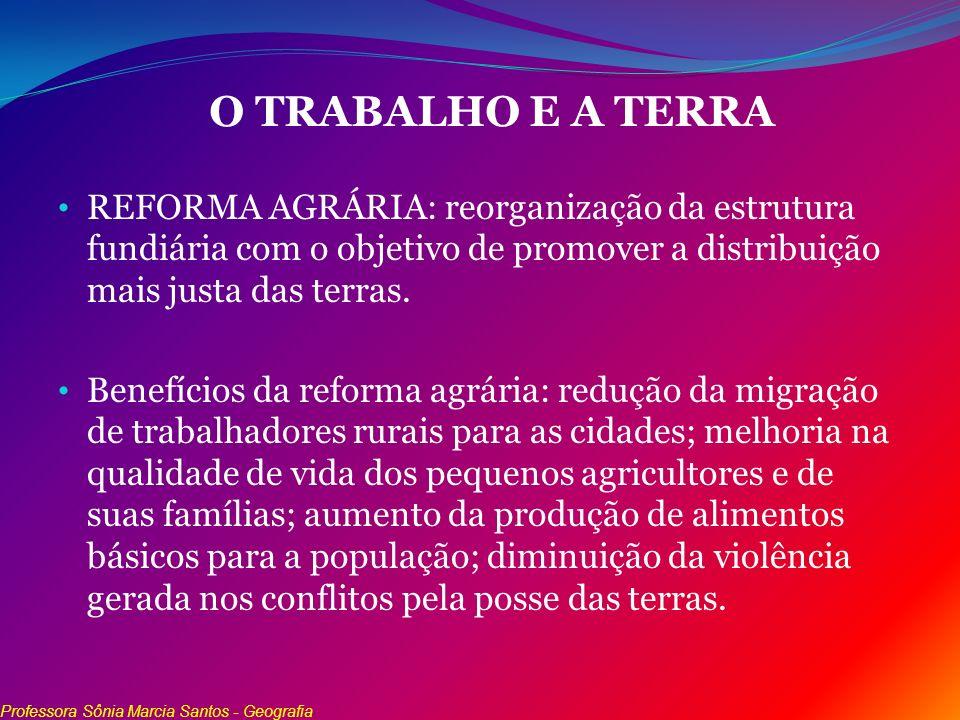 O TRABALHO E A TERRA REFORMA AGRÁRIA: reorganização da estrutura fundiária com o objetivo de promover a distribuição mais justa das terras. Benefícios