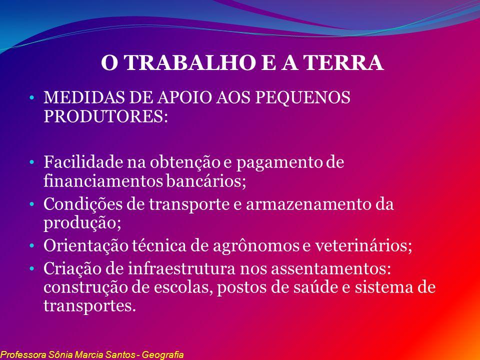 O TRABALHO E A TERRA MEDIDAS DE APOIO AOS PEQUENOS PRODUTORES: Facilidade na obtenção e pagamento de financiamentos bancários; Condições de transporte