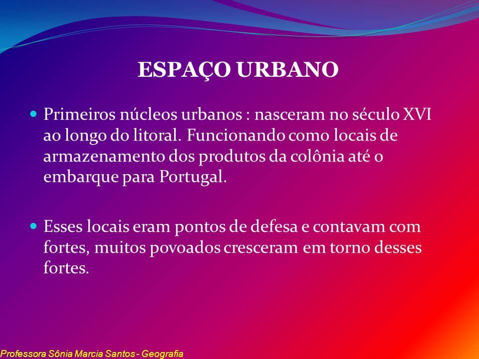 ESPAÇO URBANO Primeiros núcleos urbanos : nasceram no século XVI ao longo do litoral. Funcionando como locais de armazenamento dos produtos da colônia